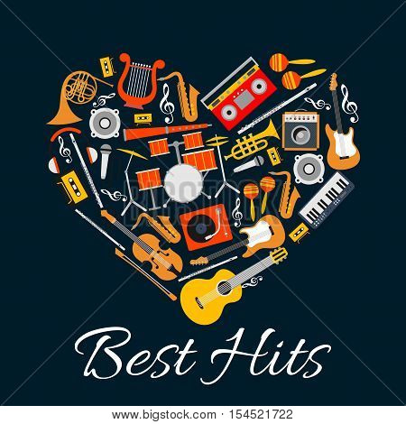Music emblem. Musical instruments in heart shape. Vector music label with pattern of string, wind, electric music instruments. Best Hits disc cover, concert banner, music fest poster