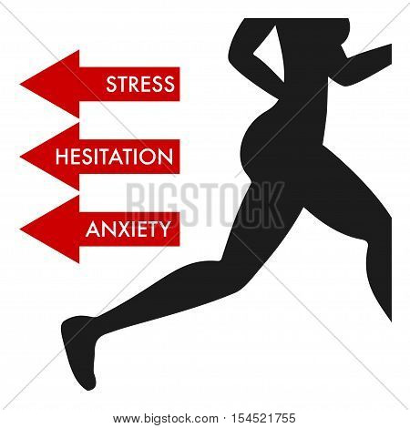 Silhouette of running woman with words STRESS HESITATION ANXIETY poster