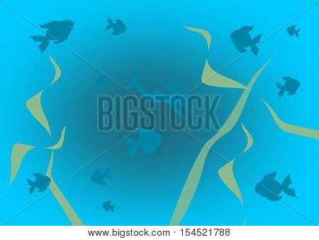 A mermaid and several fishes swimming in blue water.