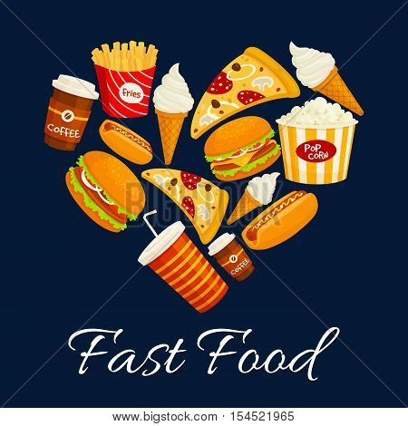 I love fast food flat icons in heart shape. Vector isolated fastfood label with elements of cheeseburger, pizza slice, hot dog, french fries, soda drink, ice cream. Fast food menu card, poster, banner design