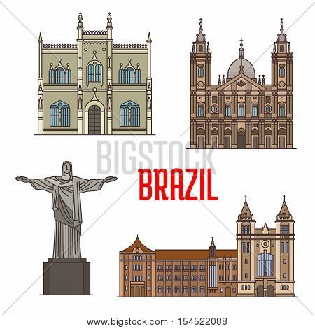 Tourist attraction architecture landmarks in Brazil. Christ the Redeemer statue, Portuguese Royal Public Library, Sao Bento Monastery, Candelaria Church detailed facade icons for travel, vacation design elements