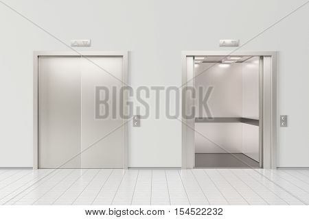 Elevator with closed doors and elevator with open doors in office lobby. 3d illustration
