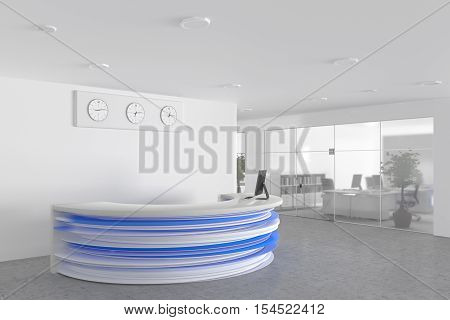 Office lobby with a reception desk and office workplace. 3d illustration