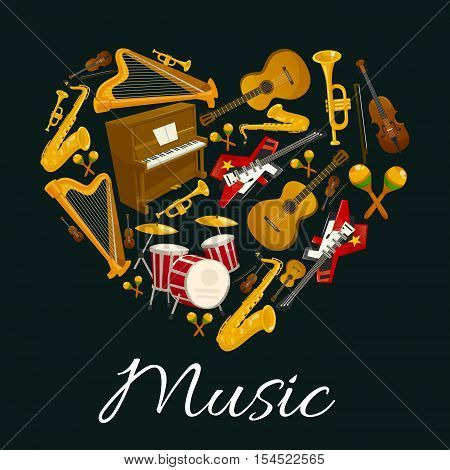 Music emblem of musical instruments in heart shape. Vector label with pattern of music instruments for jazz, rock, bossa nova, blues, pop, electro music disc cover, concert banner, music fest poster design
