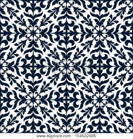 Floral stylized ornate decoration pattern tile. Vector decor tiling with blue graphic elements of floral tendrils, leaves. Seamless background for damask decor, vintage fabric textile