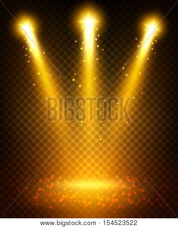 Golden spot light beams projection on floor. Gold glittering light sparkles shining and illuminating stage. Disco lamp light flashes effect on transparent background