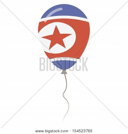 Democratic People's Republic Of Korea National Colors Isolated Balloon On White Background. Independ