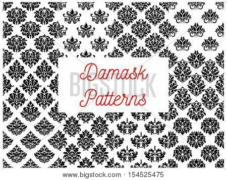 Damask seamless decorative ornament patterns. Stylized floral patterns in baroque damask style. Classic and vintage tiles with ornate floral black vector elements on white background