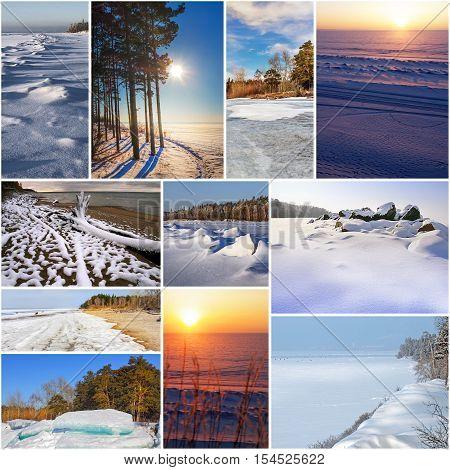 The Ob river in winter Novosibirsk oblast Siberia Russia. A collage of photos