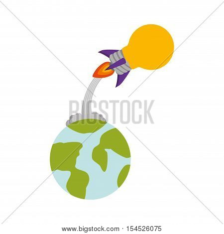 rocket startup bulb launcher and earth planet isolated icon vector illustration design