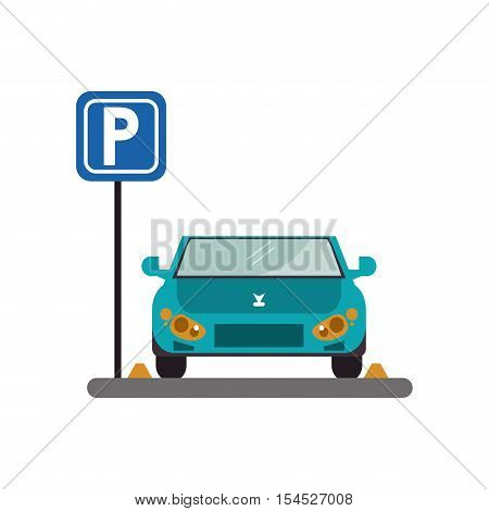 car vehicle and parking zone road sign icon. Park space road street rule and area theme. Isolated design. Vector illustration