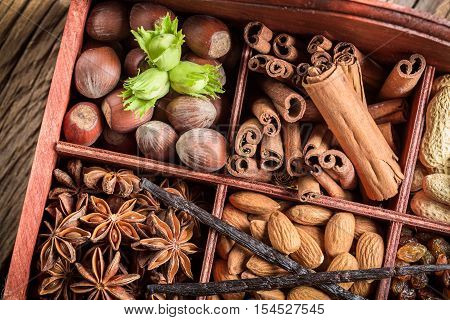 Various Kinds Of Ingredients And Nuts For Chocolate