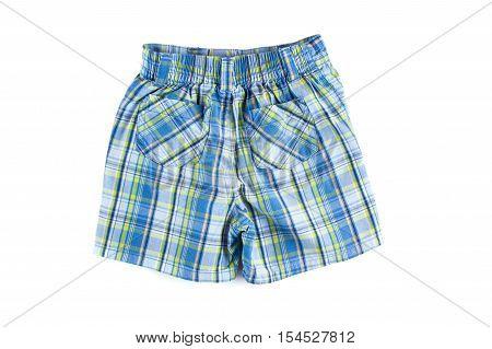 Children plaid shorts isolated on white background. Clothing isolated
