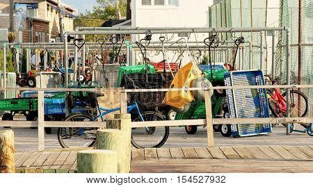 Ocean Beach Fire Island ferry terminal with the locals wagons and bikes on racks
