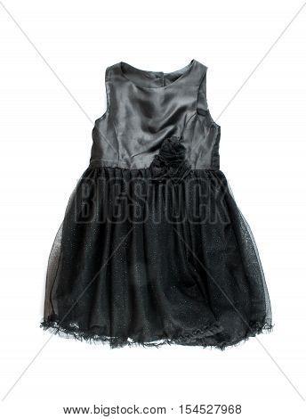 Children black dress isolated on white background. Clothing isolated