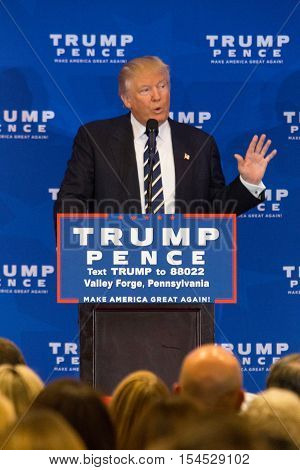 King of Prussia PA - November 1 2016: Donald Trump the Republican nominee for President promises major changes in healthcare during campaign stop near Valley Forge in Pennsylvania.