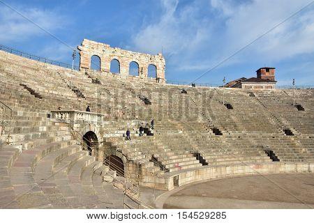 VERONA, ITALY - DECEMBER 15: View of Verona Arena cavea an ancient roman amphitheater still in use DECEMBER 15, 2015 in Verona, Italy