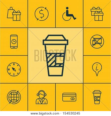 Set Of Traveling Icons On Locate, Takeaway Coffee And Operator Topics. Editable Vector Illustration.