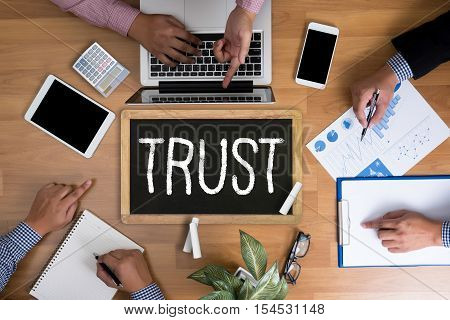 TRUST Business Concept and TRUST FUND achievement, announcement, assistance