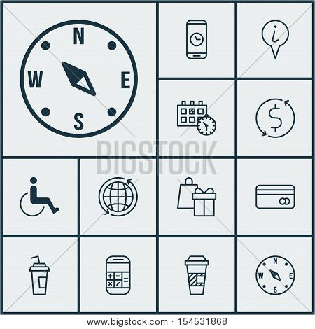 Set Of Travel Icons On Takeaway Coffee, Appointment And Shopping Topics. Editable Vector Illustratio