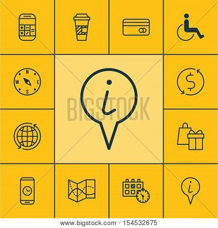 Set Of Travel Icons On Road Map, Plastic Card And Accessibility Topics. Editable Vector Illustration
