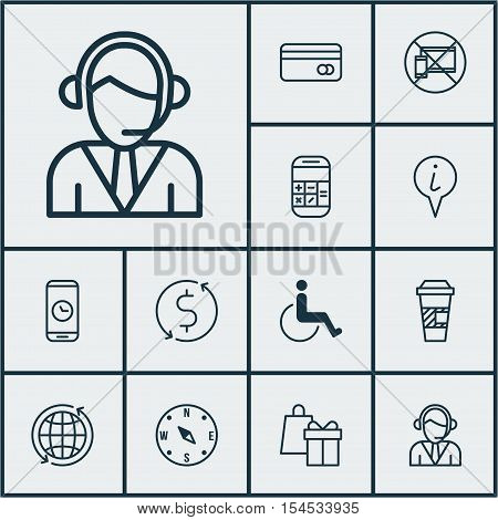 Set Of Airport Icons On Locate, Calculation And Money Trasnfer Topics. Editable Vector Illustration.