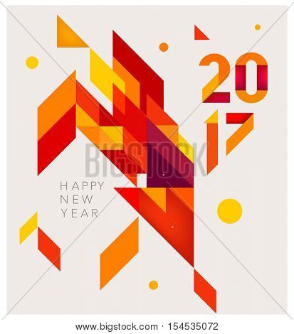 Minimalistic Vector abstract background. Red  and yellow geometric shapes. New Year 2017. To design a calendar, postcards, flyers and other Christmas products. EPS 10
