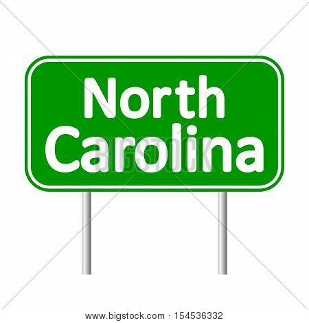 North Carolina green road sign isolated on white background