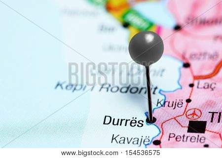 Durres pinned on a map of Albania poster