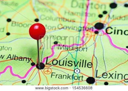 Louisville pinned on a map of Kentucky, USA