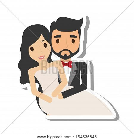 just married couple character vector illustration design