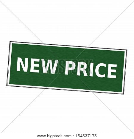 new price white wording on picture frame Green background