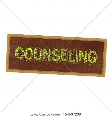 COUNSELING yellow wording on picture frame wood brown background