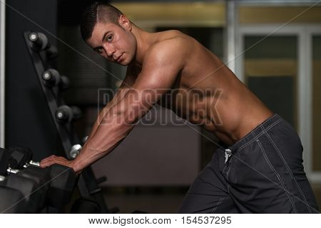 Muscular Man Resting After Exercise