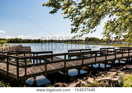 Old boat rental dock at Mount Trashmore Park in Virginia Beach, Virginia.
