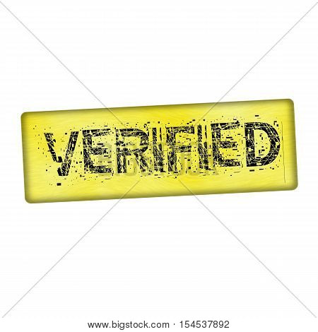 verified black wording on wood yellow background
