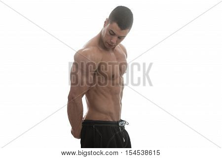 Bodybuilder With Six Pack Over White Background