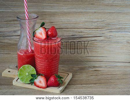 Strawberry Slush on Wood Summer Drink Fresh Drink