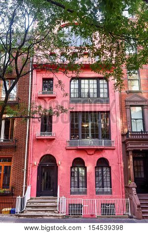 New York City - October 31, 2016: Classic Greek Revival Townhouse architecture in Greenwich Village in New York City.