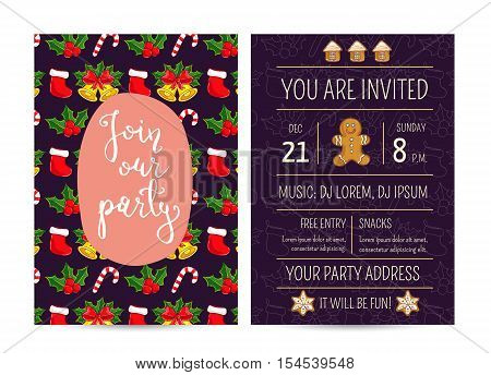 Stocking sock, candy cane, holly with fruits, gingerbread. Merry Christmas and Happy New Year greetings. Template of christmas party invitation. Design for christmas party invintation. Christmas concept. Ad for christmas party. Merry Christmas
