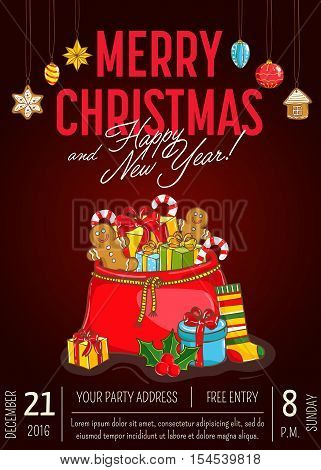 Christmas party promo poster with date and time. Santasack of gifts, sweets, sock, holly, toys cartoon vector on dark red background. Merry Christmas, Happy New Year greetings. Xmas celebrating