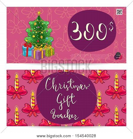 Christmas Voucher Template Vector. Xmas Gift Voucher Layout Or Discount  Voucher. Special Offer Xmas  Christmas Gift Vouchers Templates