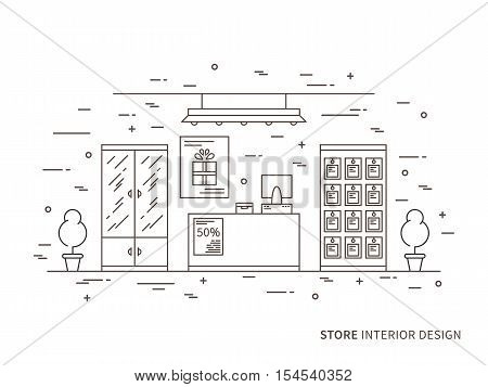Linear flat interior design illustration of modern shop store interior space with flowers shelves table counter lamps showcase. Outline vector graphic concept of shop interior design.