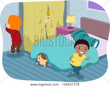 Stickman Illustration of Kids Playing a Game of Hide and Seek in the Bedroom