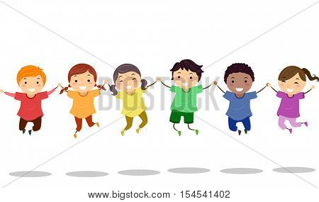 Stickman Illustration of a Diverse Group of Preschool Kids  Wearing Colorful Shirts Doing a Jump Shot