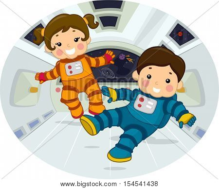 Illustration of Chubby Preschool Kids in Space Suits Floating in a Room with Zero Gravity