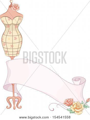 Illustration Featuring a Colorful Summer Dress Wrapped Around a Sewing Dress Form Linked to a Ribbon Decorated with Flowers