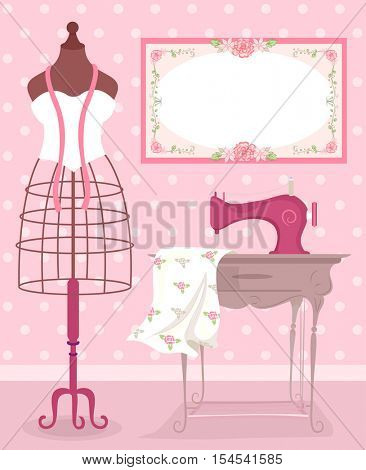 Shabby Chic Sewing Illustration Featuring a Metal Dress Form Standing Beside a Vintage Sewing Machine
