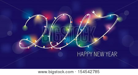 2017 new year greeting banner with stylized garland. Vector illustration eps 10
