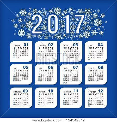 2017 blue calendar with stylized snowflakes. Vector illustration eps 10